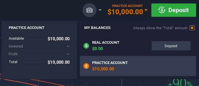 iq option demo vs real account